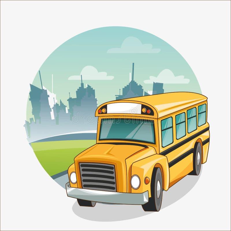 Gul buss av tillbaka till skoladesignen stock illustrationer