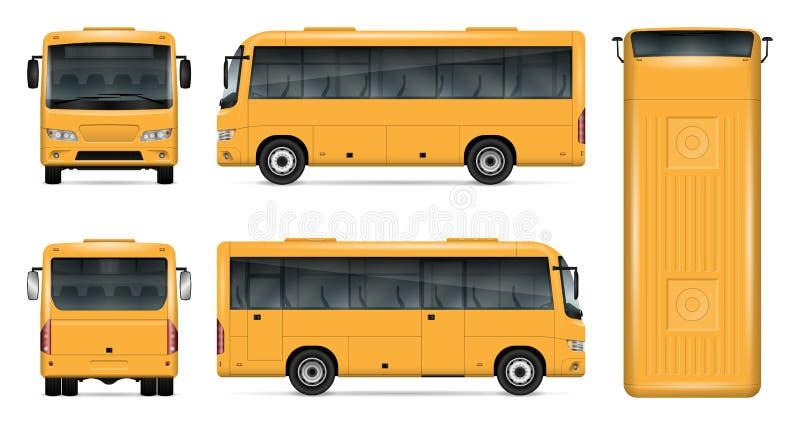 Gul bussvektormodell vektor illustrationer