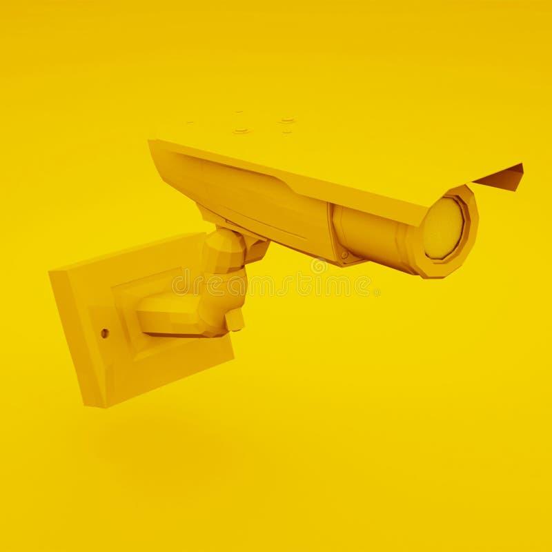 Gul CCTV-kamera eller säkerhetskamera illustration 3d vektor illustrationer