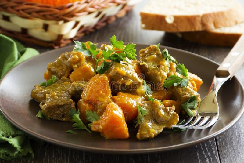 Gul curry med pumpa arkivbild