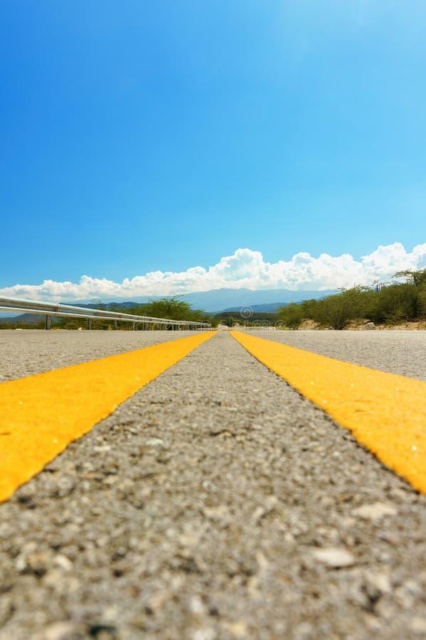 Gul delande linje på asfaltvägen royaltyfria foton