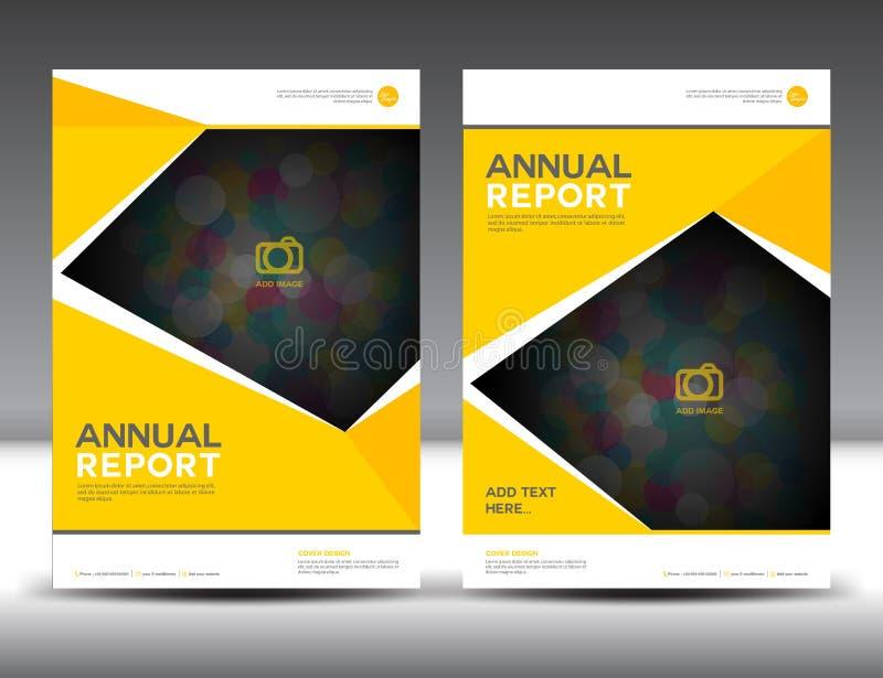Gul des för format för mall A4 för reklamblad för årsrapportbroschyrbroschyr stock illustrationer