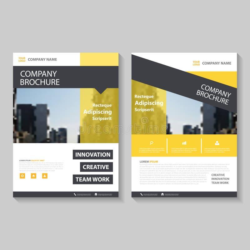 Gul design för mall för reklamblad för broschyr för vektorårsrapportbroschyr, bokomslagorienteringsdesign, abstrakta presentation vektor illustrationer