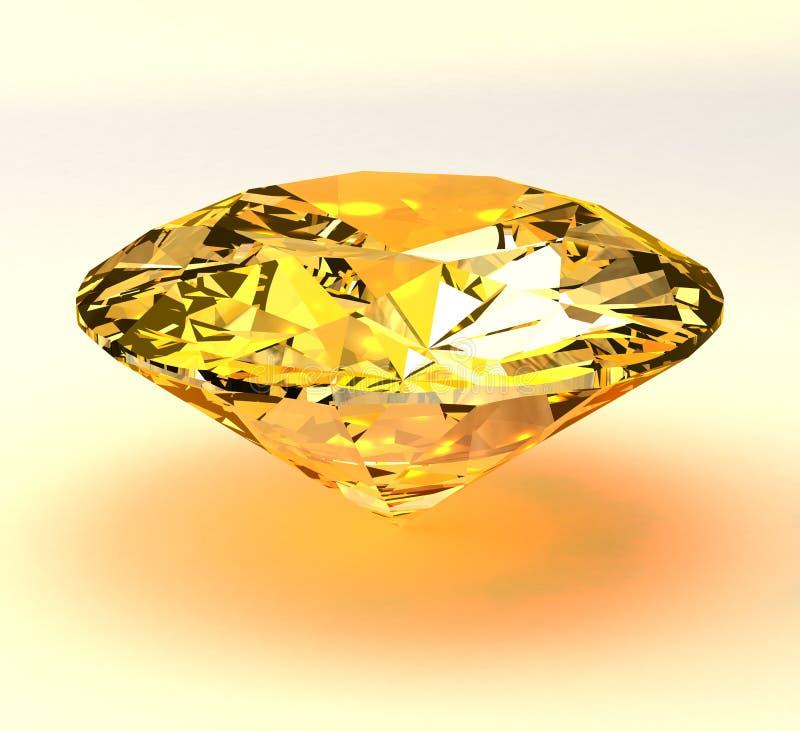 Gul diamantbriljant 3d royaltyfri illustrationer
