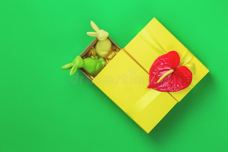 Gul easter giftbox med två kaniner på grön bakgrund arkivfoton