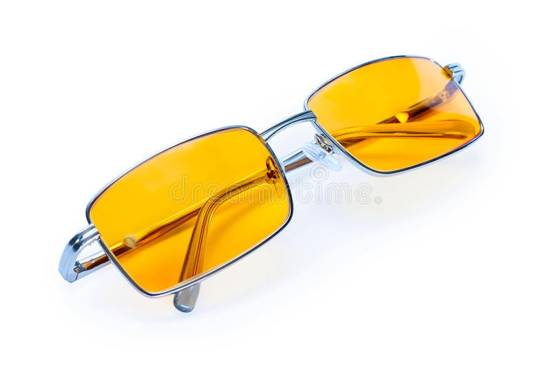 Gul eyewear för nattexponeringsglas arkivfoto