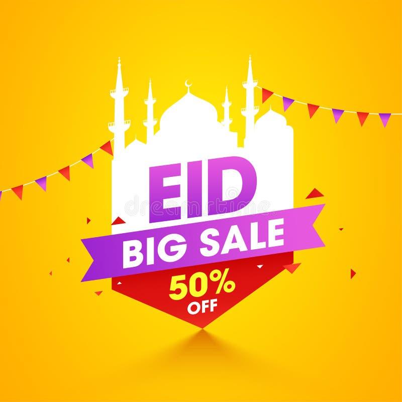 Gul färgbaner- eller affischdesign med bunting garnering för den Eid Mubarak försäljningen stock illustrationer