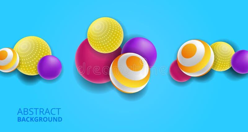 gul färgrik rolig dekorativ sfär för boll 3D, rosa purpurfärgad abstrakt bakgrund vektor illustrationer