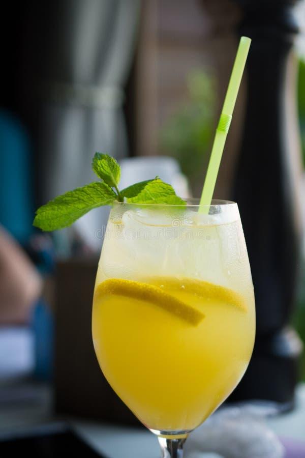 Gul fågelcoctail med citronen royaltyfri bild