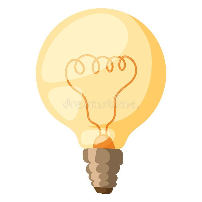 Gul för vektorillustration för ljus kula inspiration för belysning för energi för makt för lampa för lightbulb för elektricitet e stock illustrationer
