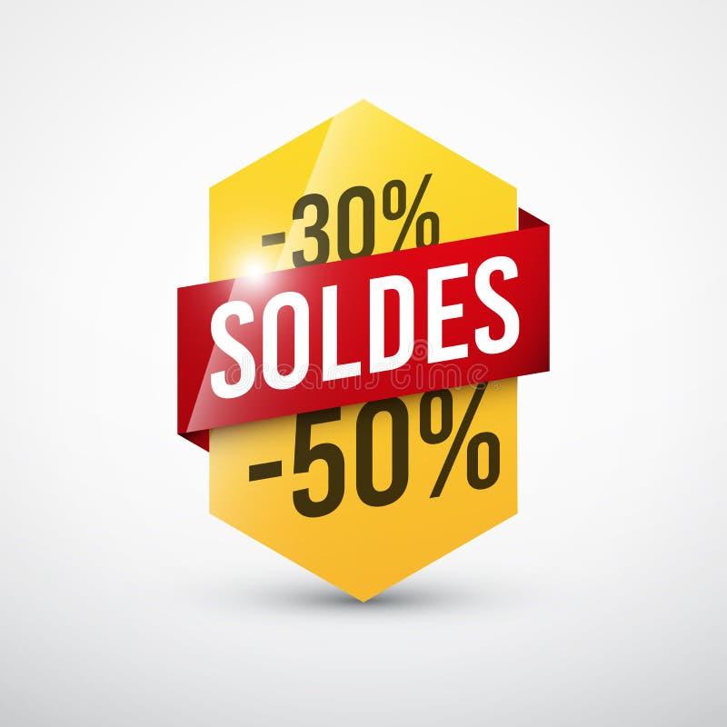 Gul försäljningsetikett och rött band stock illustrationer