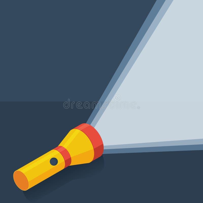 Gul ficklampa i plan stil på mörk bakgrund royaltyfri illustrationer