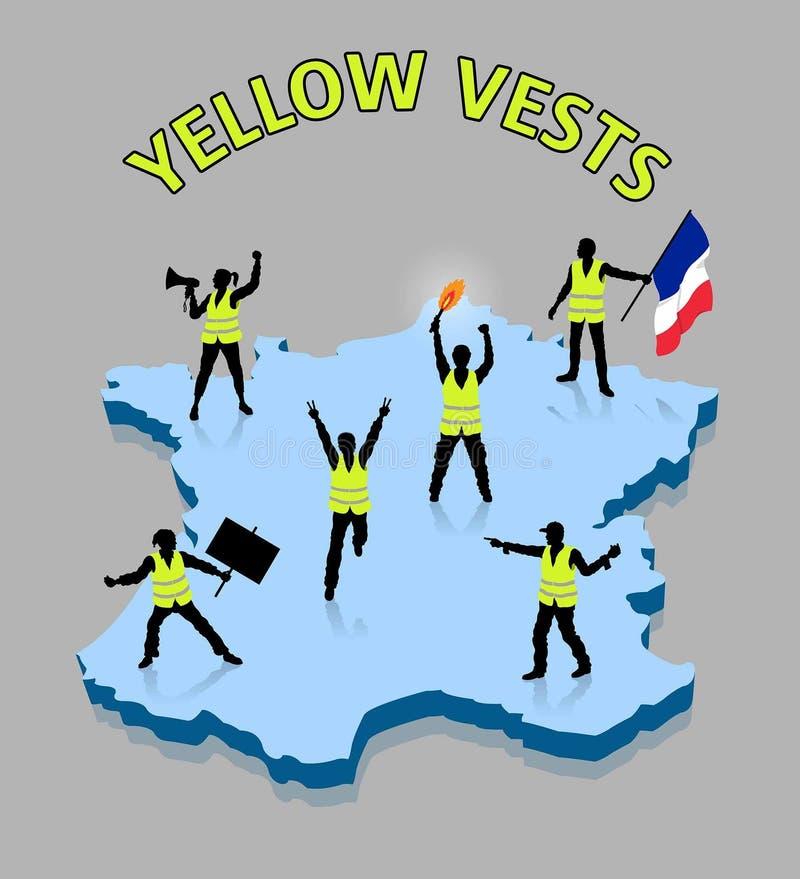 Gul Frankrike 3D för ower för väströrelsekonturer översikt stock illustrationer
