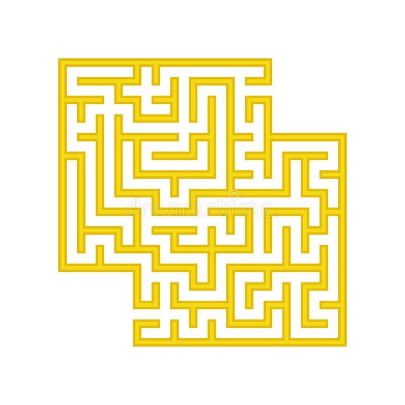 Gul fyrkantig labyrint barnprickar finner leken dold för att skissa för att förena dig Enkel plan vektorillustration som isoleras vektor illustrationer