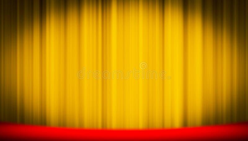 Gul gardin för teater på etappunderhållningbakgrund, gul gardinbakgrund arkivfoton