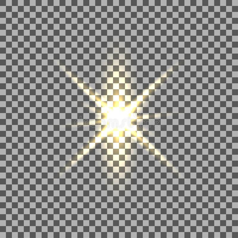 Gul glödande ljus bristning med genomskinligt på isolerad bakgrund royaltyfri illustrationer