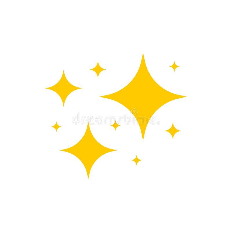 Gul gnistsymbolvektor Den ursprungliga vektorstjärnornas gnistlist-ikon Ljus fyrverkeripjäs, skrynklingsskena, blankt blixt stock illustrationer
