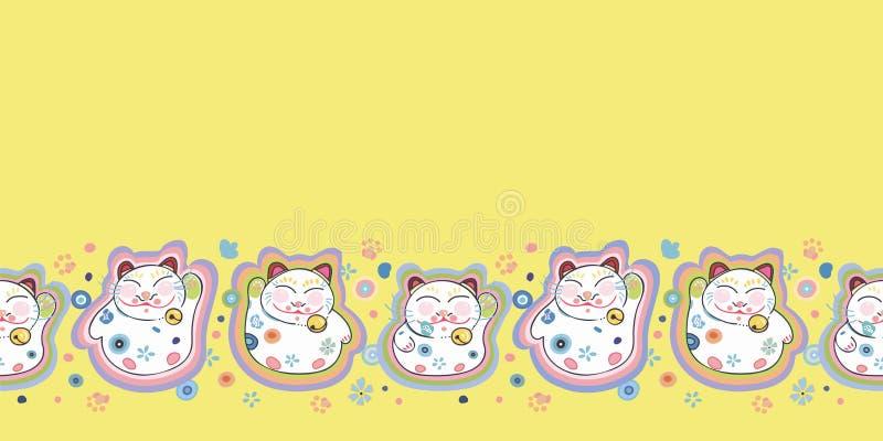 Gul gräns med den lyckliga katten och blom- royaltyfri illustrationer