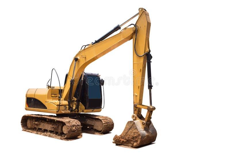 Gul grävskopa i konstruktionsplatsen som isoleras på den vita backgrouen arkivfoto