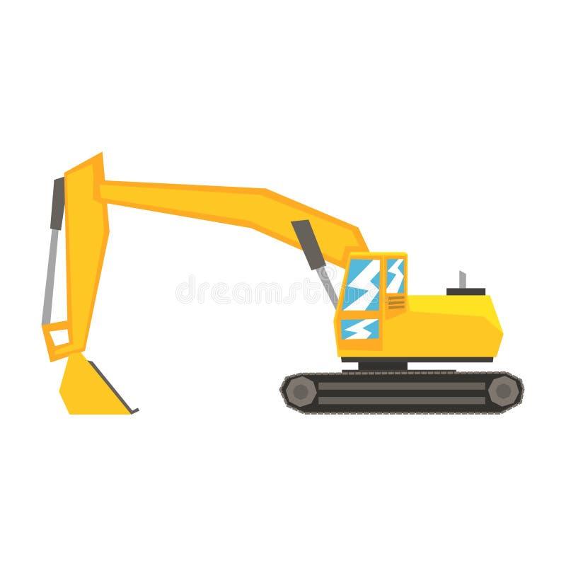 Gul grävskopa, tungt industriellt maskineri, illustration för vektor för konstruktionsutrustning royaltyfri illustrationer