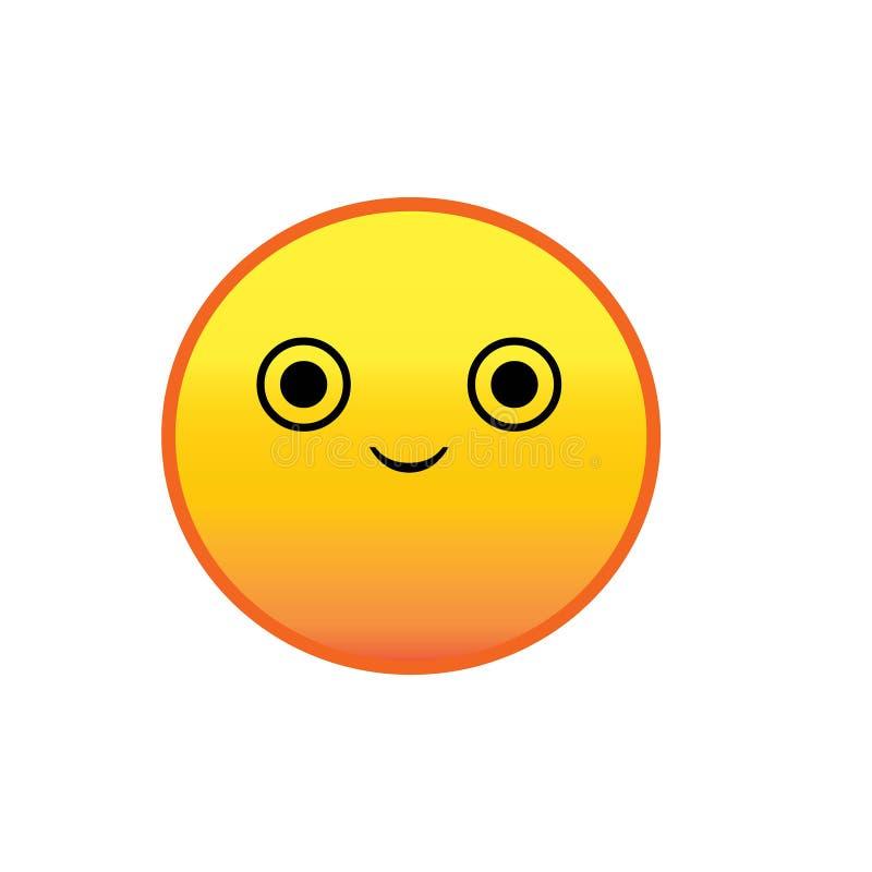 Gul gullig smiley framsidasymbol eller knapp stock illustrationer