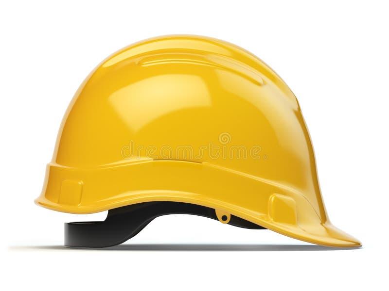 Gul hård hatt, säkerhetshjälm som isoleras på vit vektor illustrationer