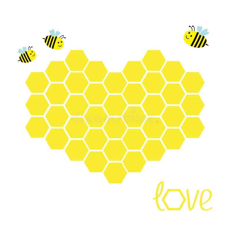 Gul honungskakauppsättning i form av hjärta Bikupabeståndsdel Honungsymbol Älska hälsningskortet isolerat Vit bakgrund Plan desig royaltyfri illustrationer