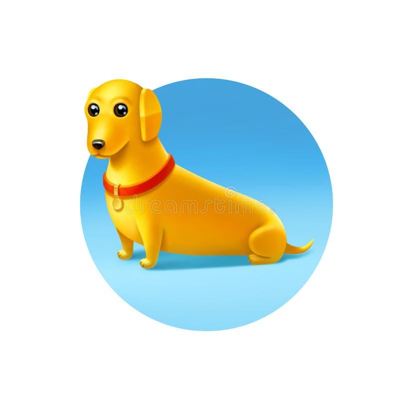 Gul hund med en röd krage på ljust - blå bakgrund vektor illustrationer