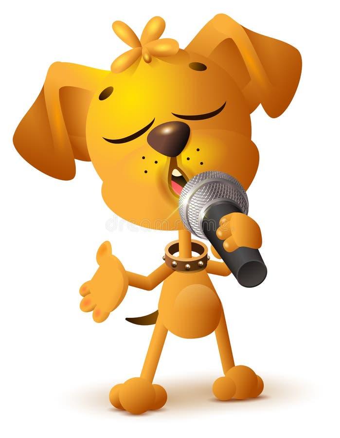 Gul hund som solo sjunger mikrofonen royaltyfri illustrationer