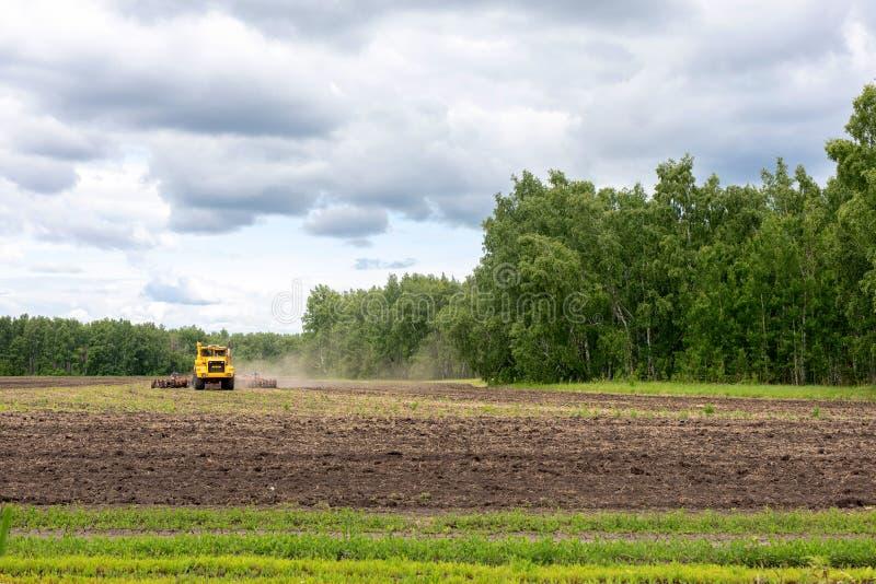 Gul jordbruks- maskin, skördetröska som förbereder land med såbäddodlaren som delen av pre att kärna ur aktiviteter arkivfoton