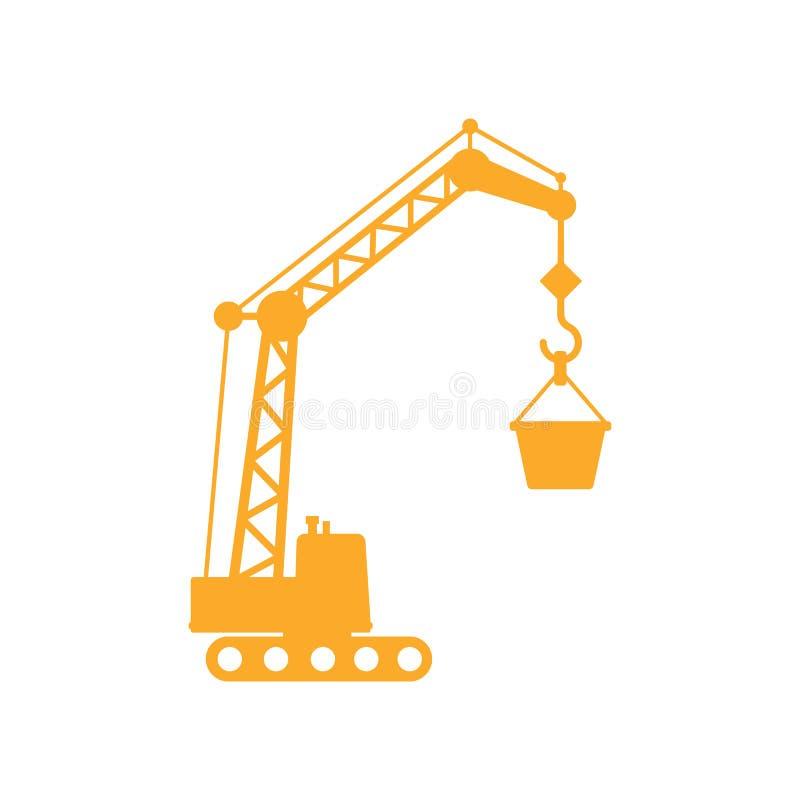 Gul konstruktionskran vektor illustrationer
