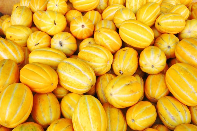 Gul koreansk melon (kinesisk melon) i massa på en kinesisk marknad royaltyfria foton