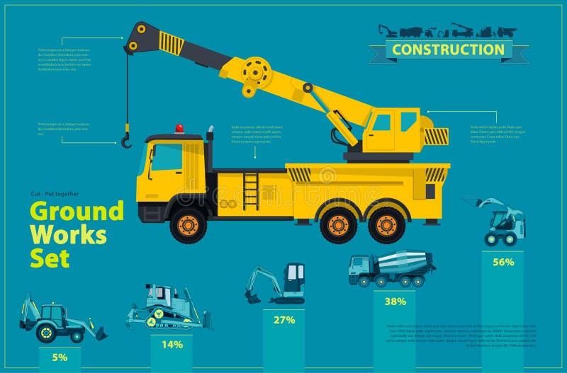 Gul kran Den blåa infographic uppsättningen, jordningsarbetsblått bearbetar med maskin medel stock illustrationer