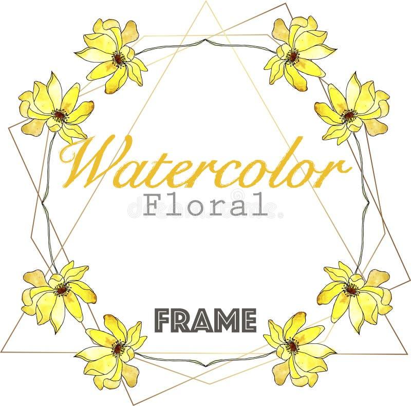 Gul krans för vattenfärg med den guld- triangelramen vektor illustrationer