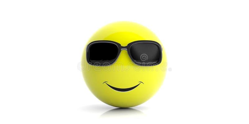 Gul le emoji med solglasögon på vit bakgrund illustration 3d vektor illustrationer