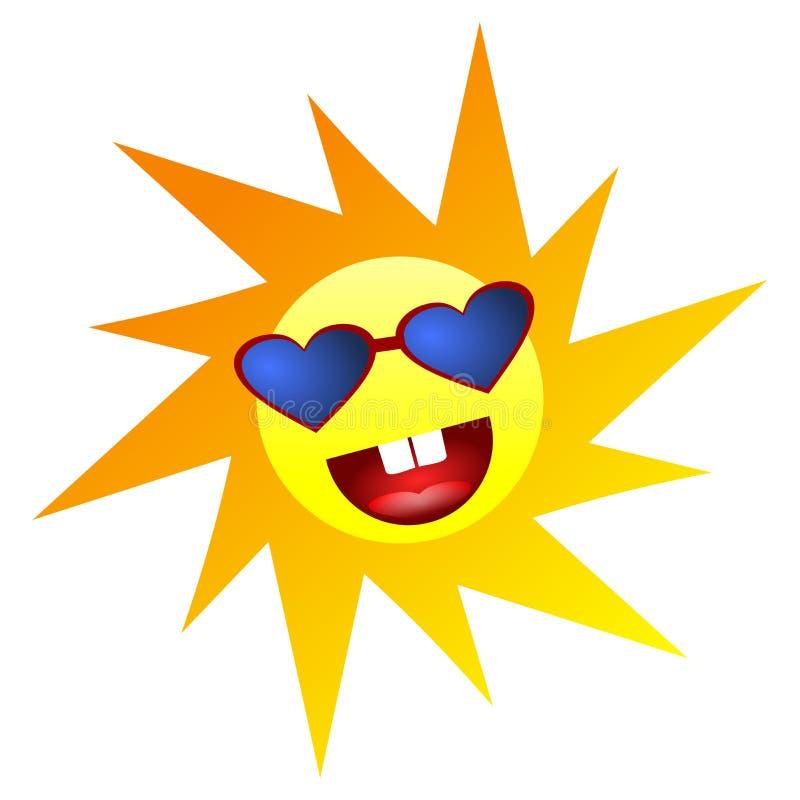 Gul le lycklig sol med för Emoji för hjärtaShape ögon symbolen för sinnesrörelse folk sinnesrörelse c för uttryck för symbol för  stock illustrationer