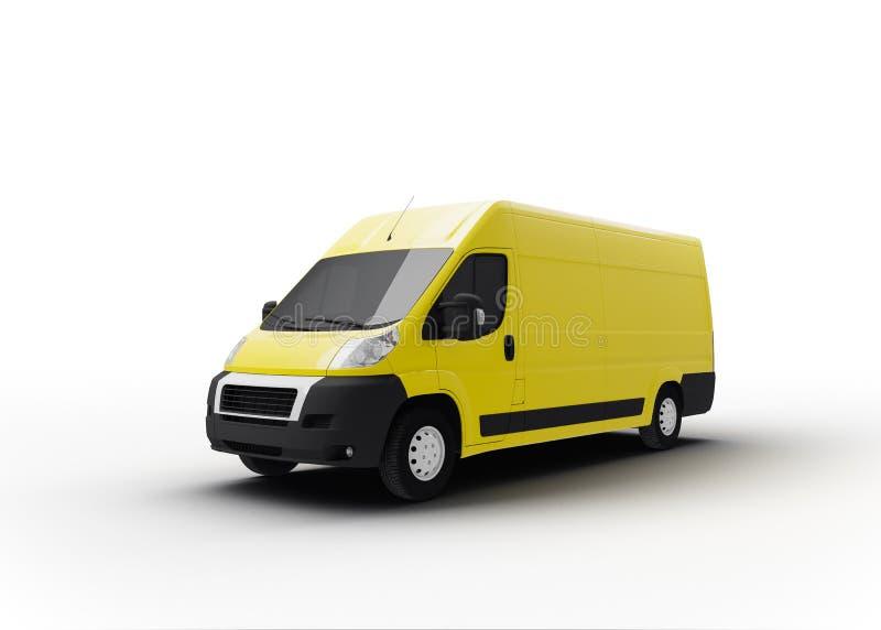 Gul leveranslastbil som isoleras på vit royaltyfri illustrationer
