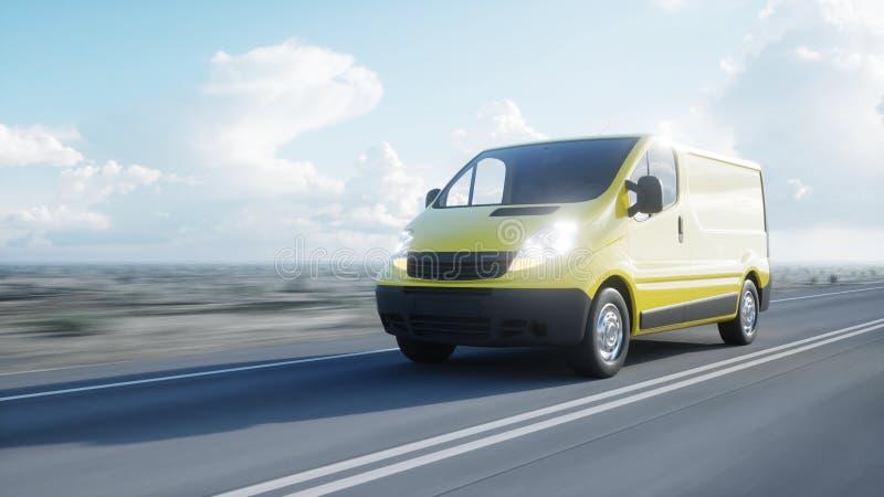 Gul leveransskåpbil på huvudvägen Mycket snabb körning Transport och logistiskt begrepp framförande 3d vektor illustrationer