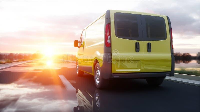 Gul leveransskåpbil på huvudvägen Mycket snabb körning Transport och logistiskt begrepp framförande 3d royaltyfri illustrationer