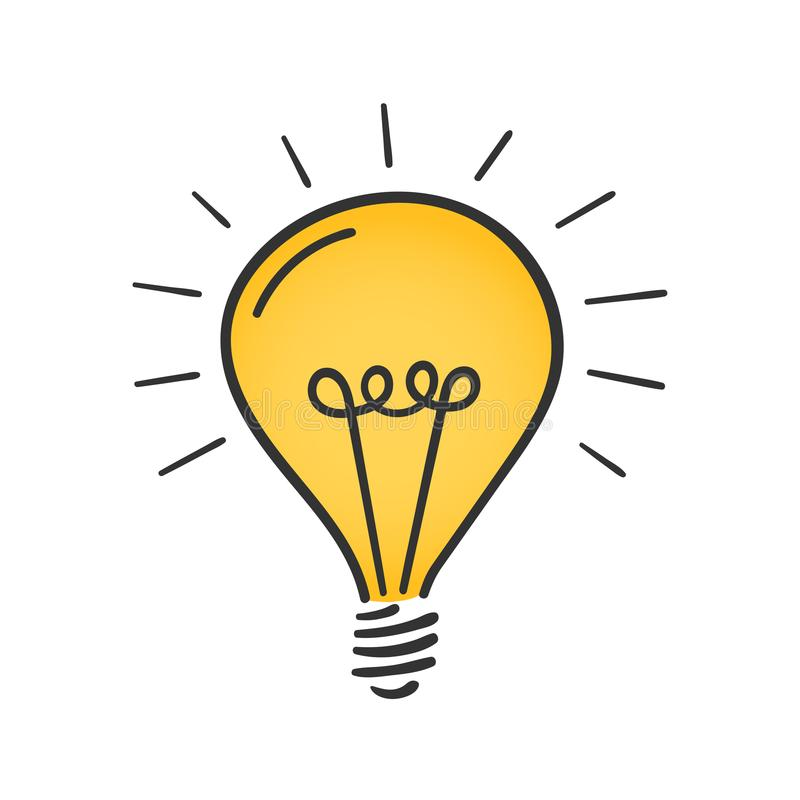 Gul lightbulb vektor illustrationer