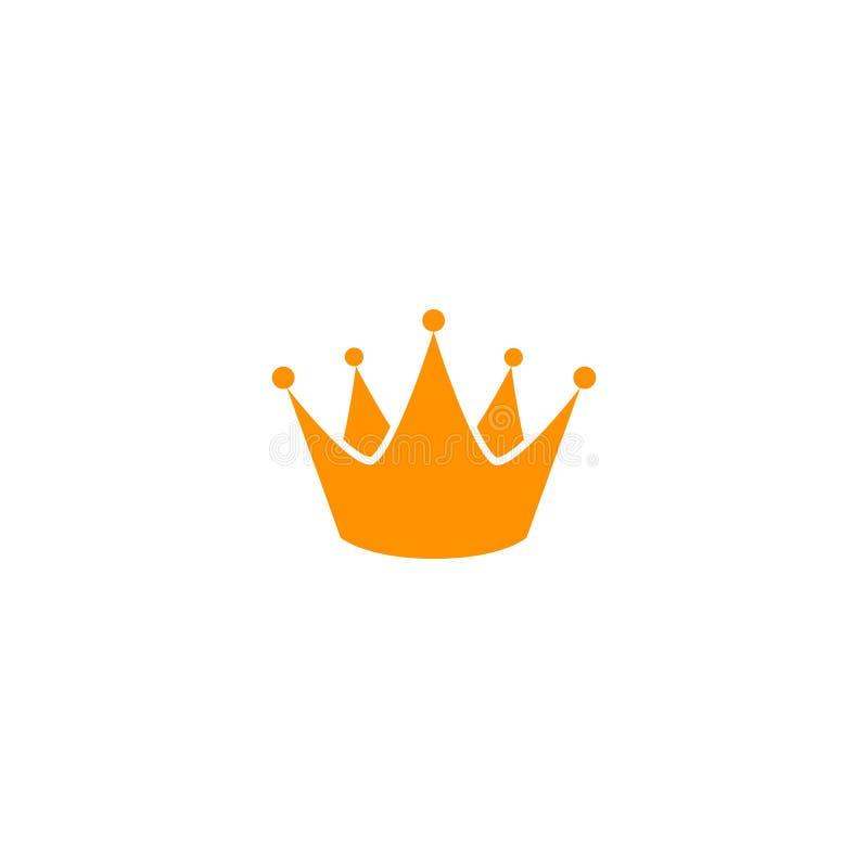 Gul mall för kronasymbolslogo Konungsymbol royaltyfri illustrationer