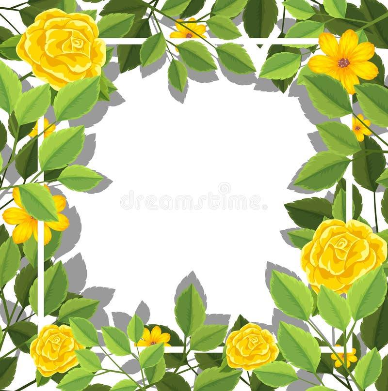 Gul mall för tomt kort för blomma stock illustrationer