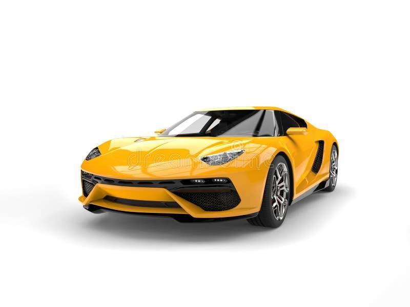 Gul modern sportbil - skönhetskott stock illustrationer