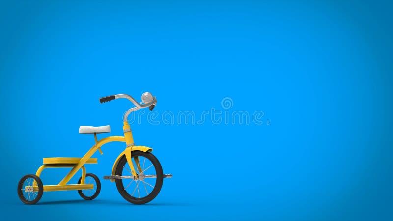 Gul nätt trehjuling för tappning - blå bakgrund stock illustrationer