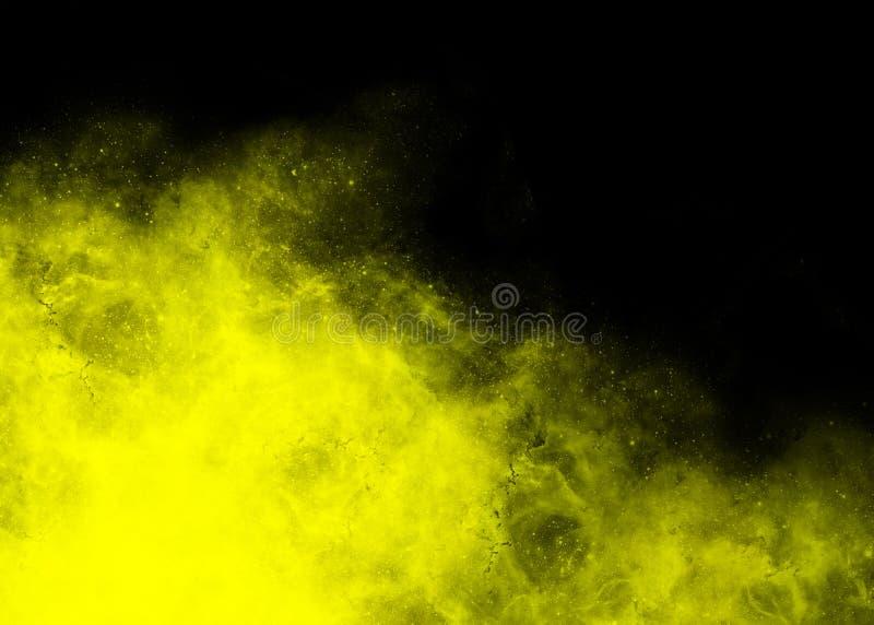 gul nebula i vänster hörn på svart bakgrund royaltyfria foton