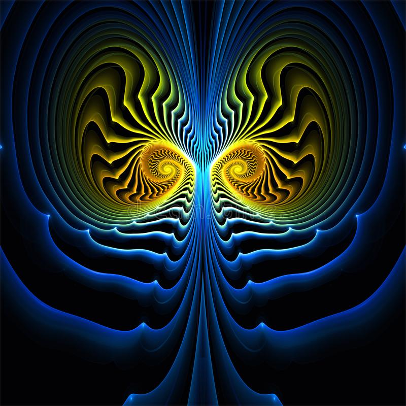 Gul och blå fantasisymmetri för abstrakt fractalkonst vektor illustrationer