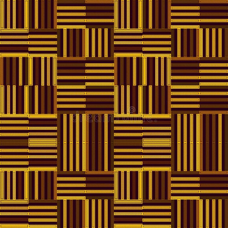 Gul och brun upprepande modell av band i modern stil royaltyfri illustrationer