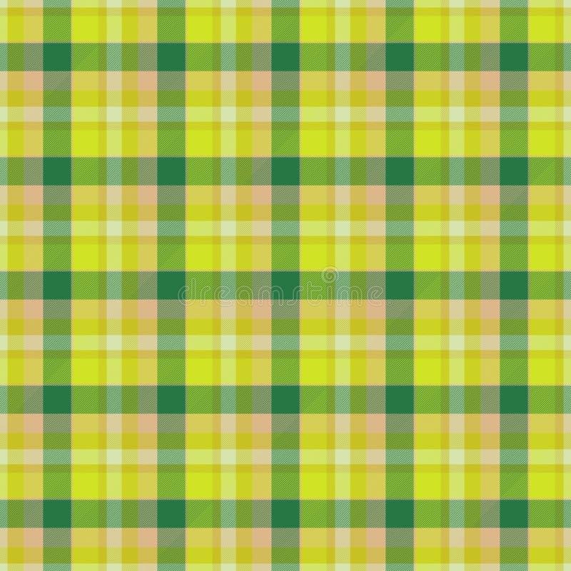 Gul och grön tabell-torkduk sömlös textur stock illustrationer