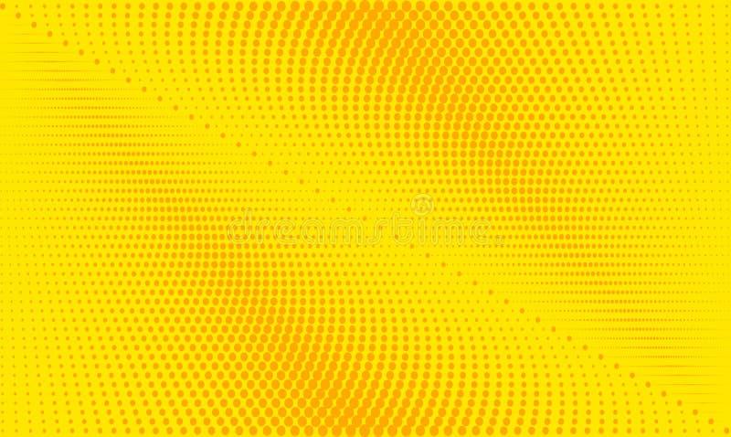Gul och orange för bakgrundsrasterlutning halfton för Retro komiker stock illustrationer