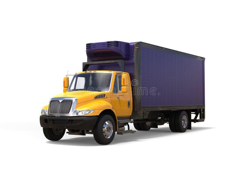 Gul och purpurfärgad kylskåplastbil royaltyfria bilder
